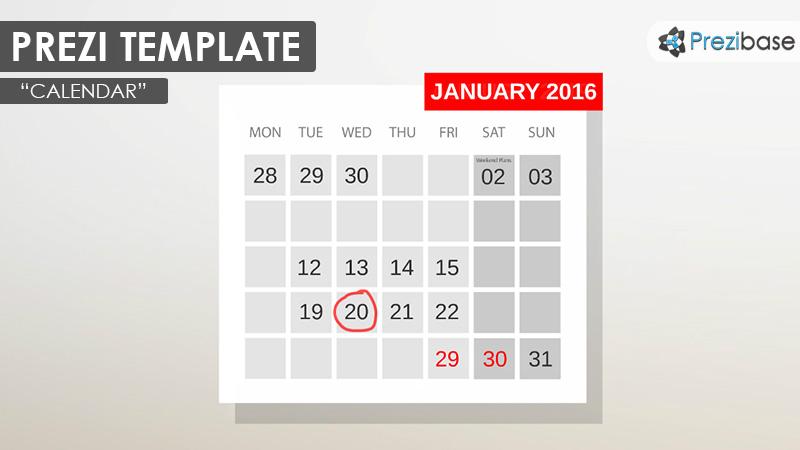 calendar events date prezi template