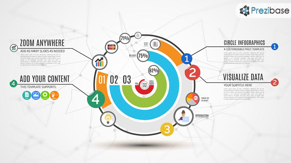Creative circular and professional infographics diagram colorful prezi template professional