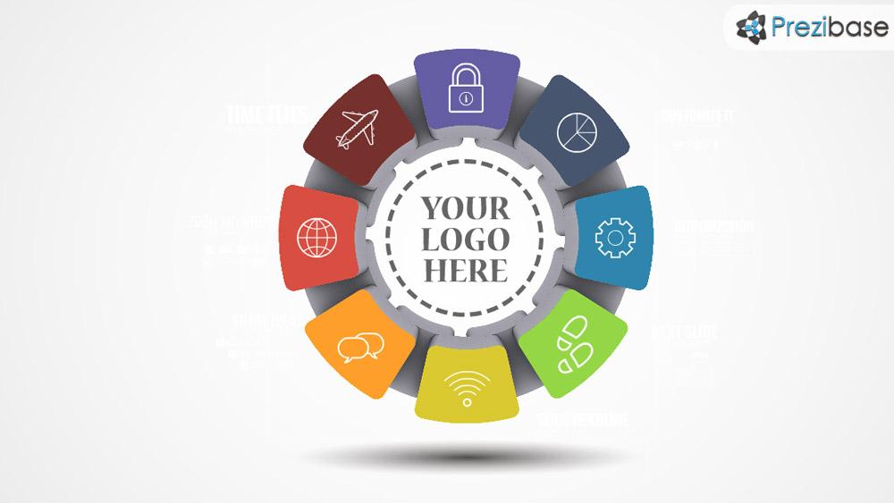 Colorful infographic circle design layout business presentation prezi template