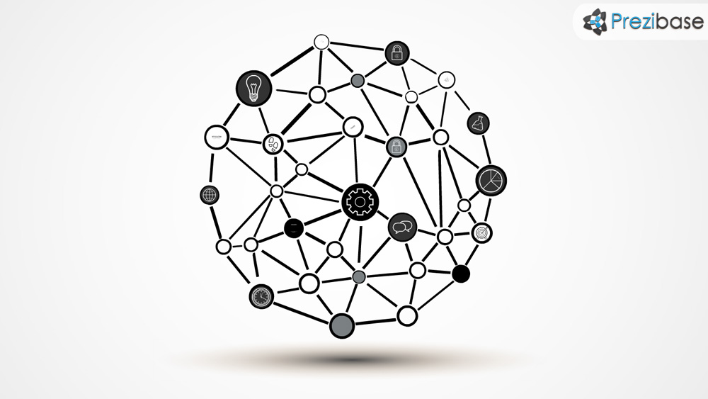 Network connections round circle 3D network sphere prezi template