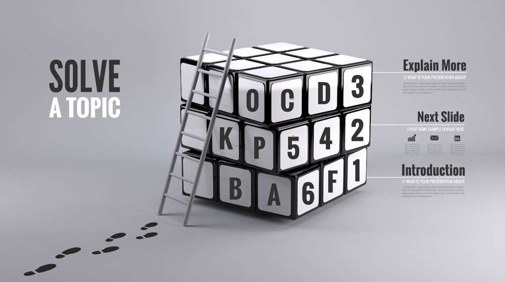 Solve a topic creative 3D Rubik's cube business presentation template for Prezi