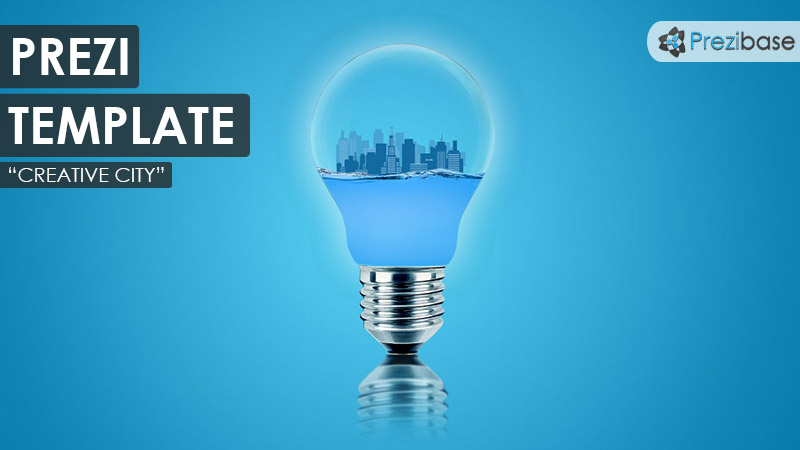 c3D city inside light bulb prezi template