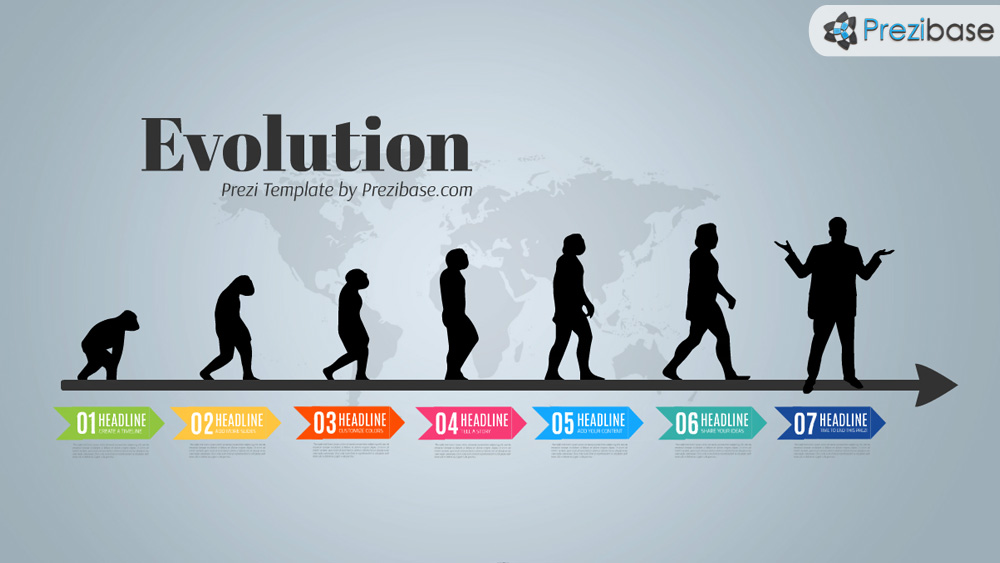 Evolution theory creative timeline history prezi template for presentations