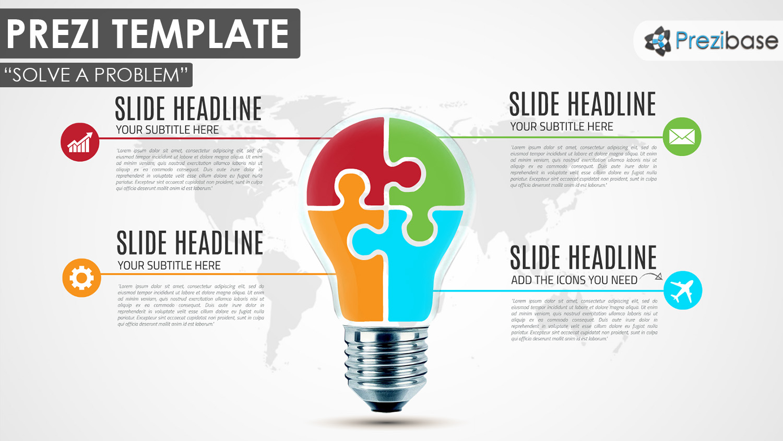 creative business light bulb puzzle diagram prezi template presentation