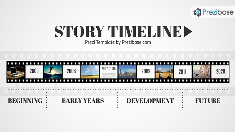 Timeline roadmap template on movie tap film roll prezi presentation template