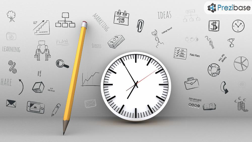 Creative ideas on a wall sketch time deadline prezi template