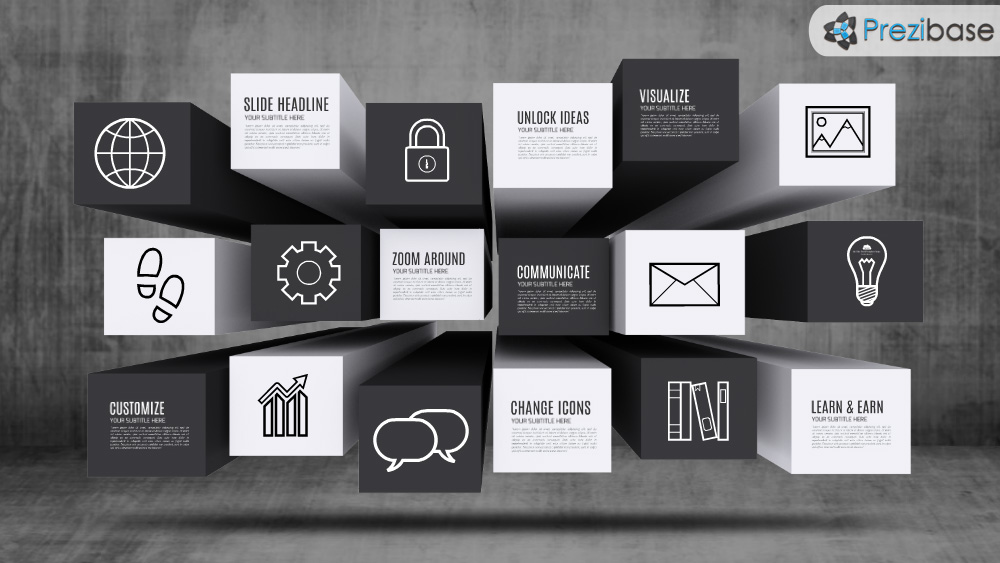 Black and white boxes on dark grunge background prezi template