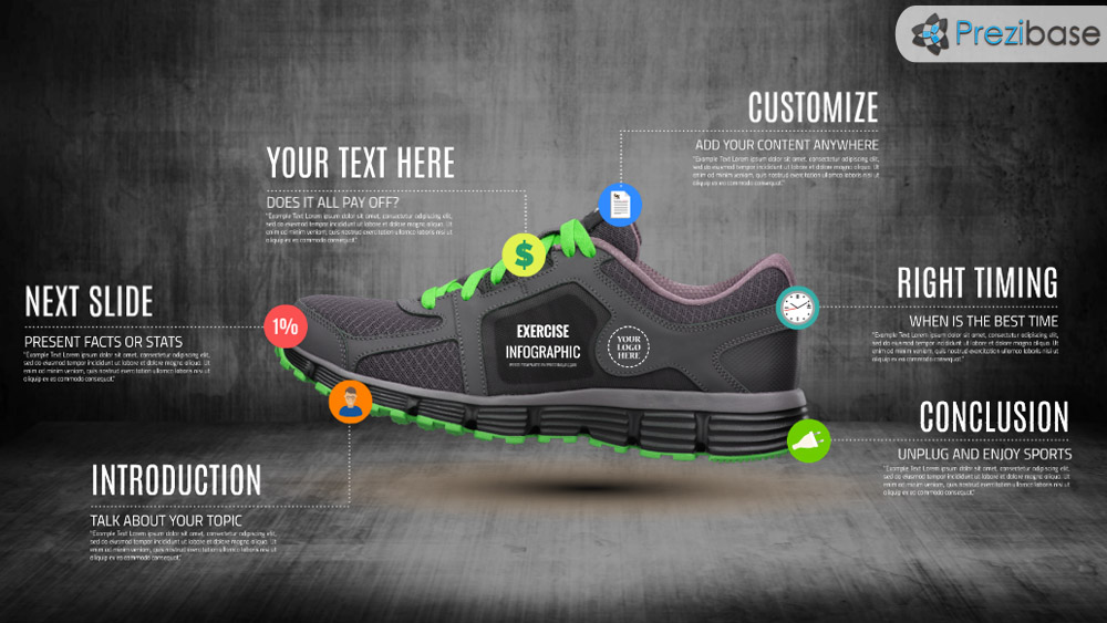 Running shoe sports and fitness infographic prezi presentation template