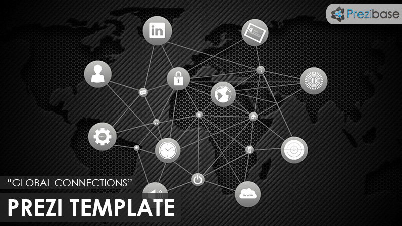 business dark animated global map connections prezi template