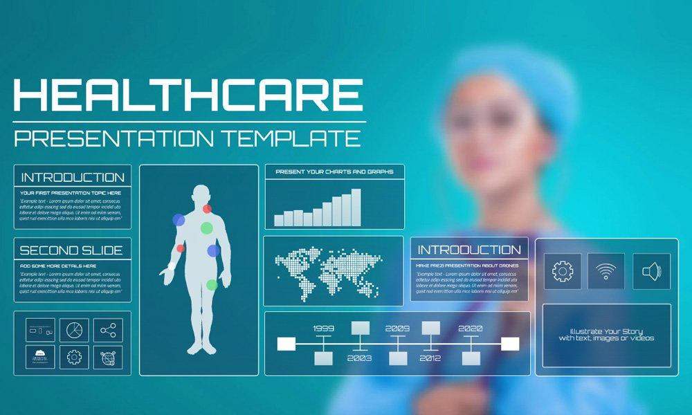 Medical technology related healthcare presentation template for Prezi