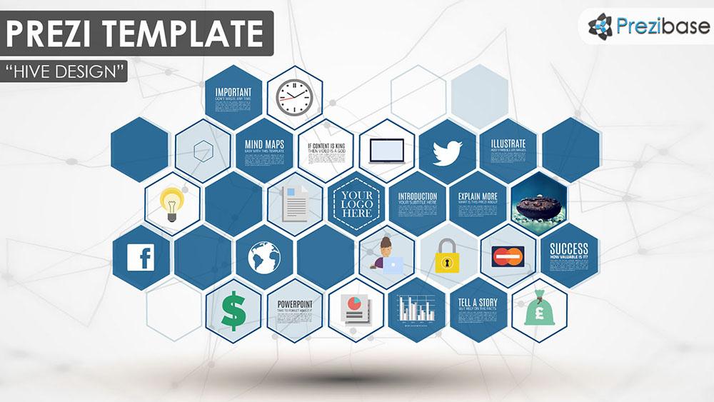 3D hexagons professional multi purpose shapes prezi template for presentations