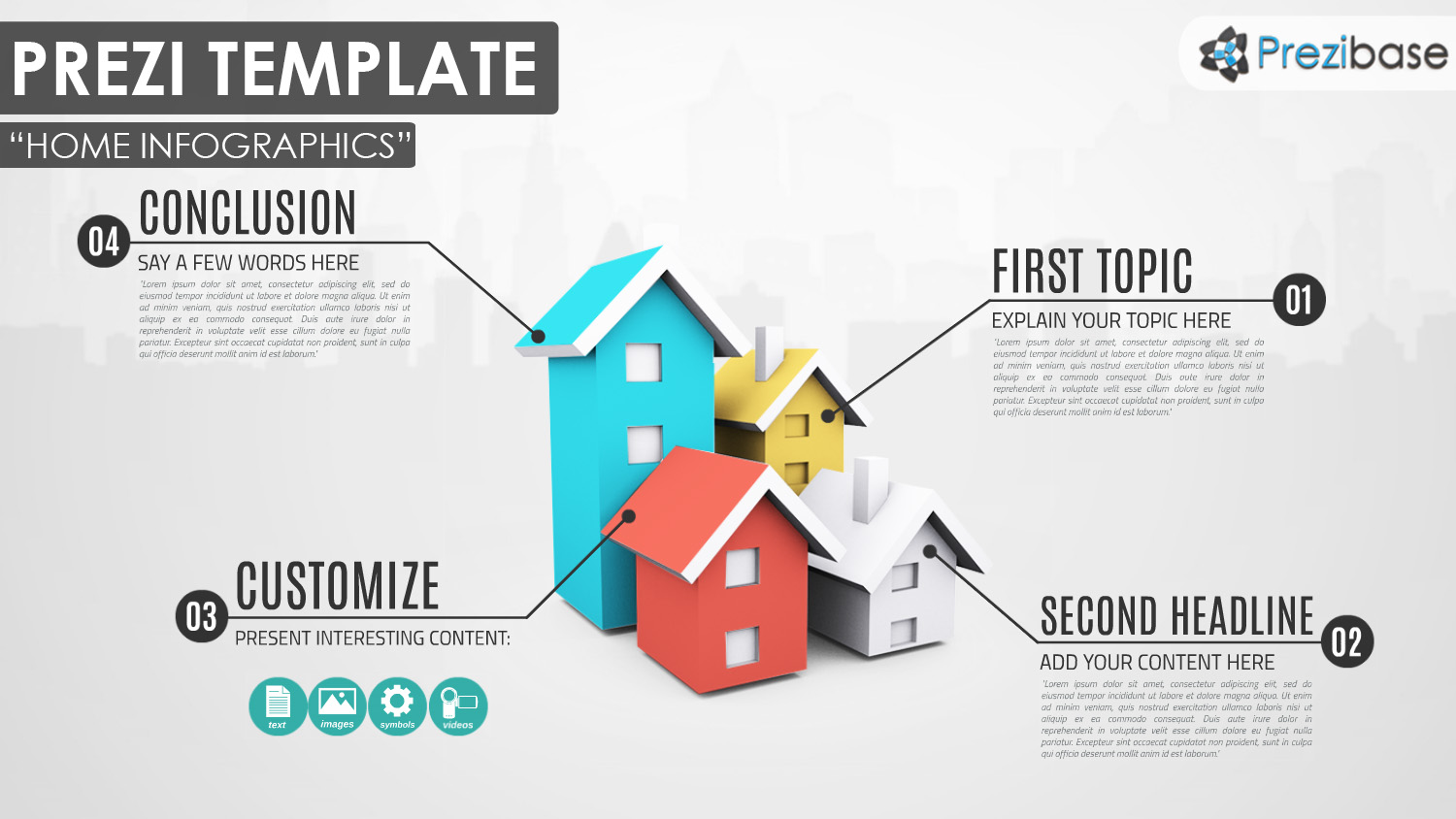 3D real estate and house or home infographic property prezi template