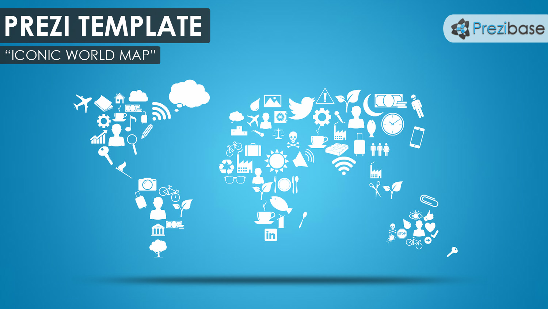 prezi world map from small icons symbols template creative blue