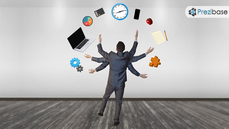Creative business multitask busy businessman juggle prezi template for presentations