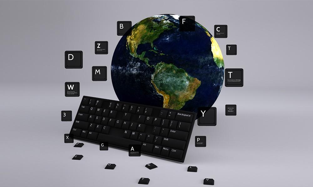 Keystrokes 3D world communication prezi presentation template