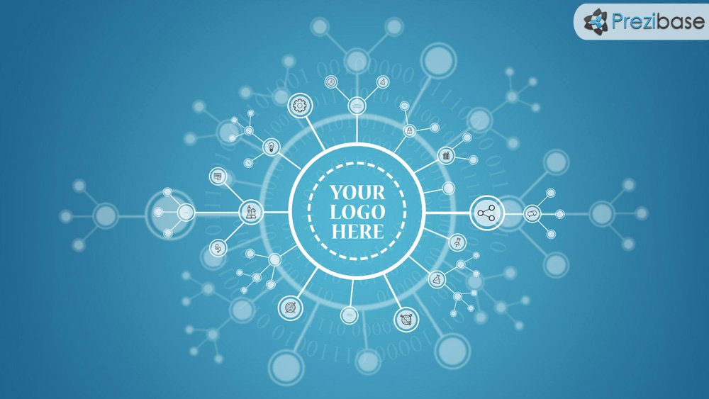3D linked network connections technology prezi presentation template