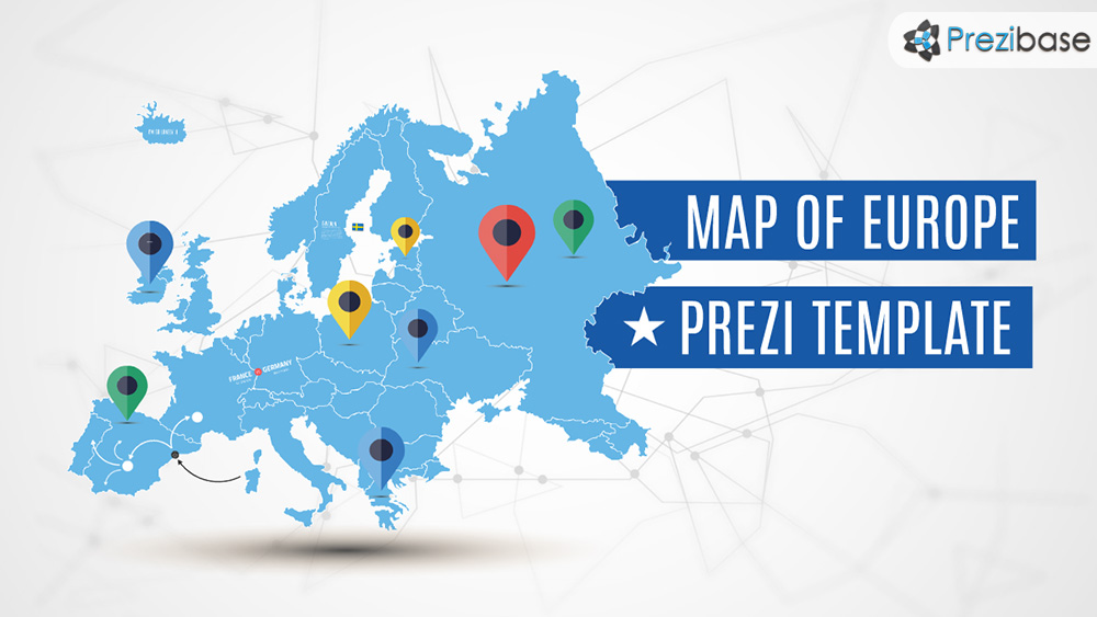 Blue europe EU union map prezi template