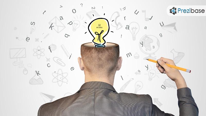 Creative half head businessman ideas thinking light bulb sketch prezi template for presentations