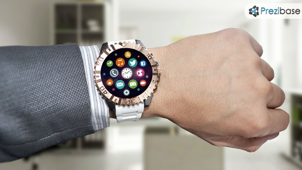 Smart watch technology businessman wrist clock prezi template