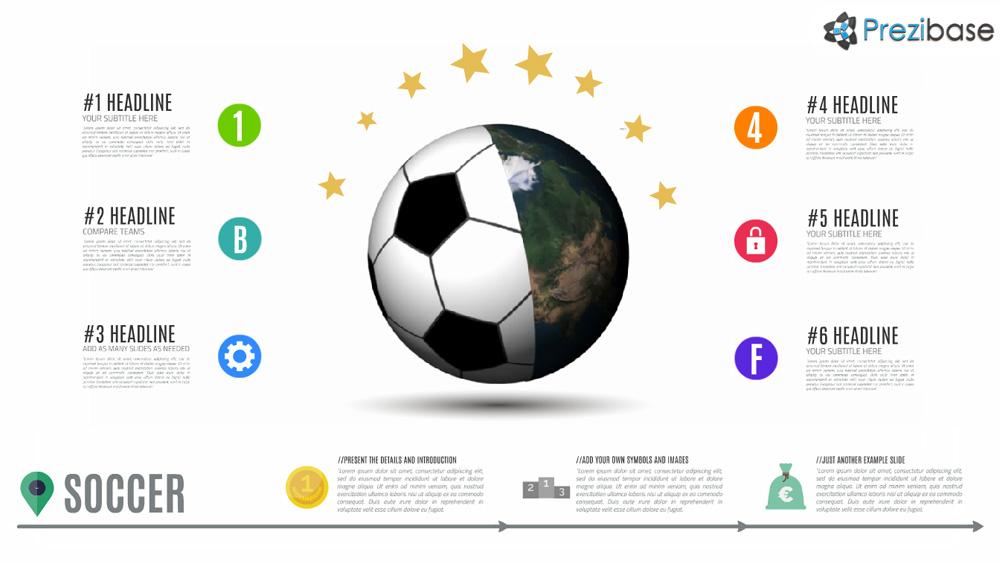 Football and soccer 3d earth world prezi presentation template animated