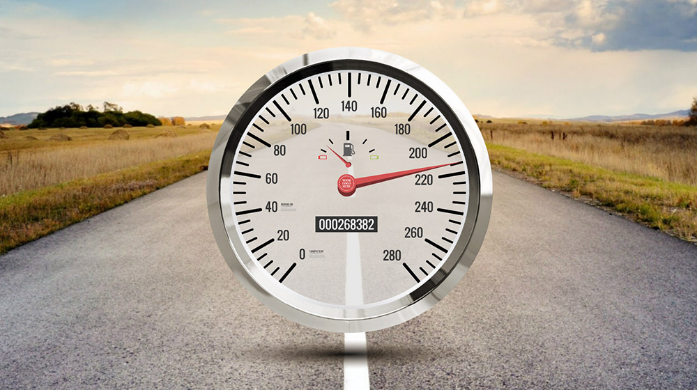 Creative Speedometer 3D Car driving road Prezi presentation template