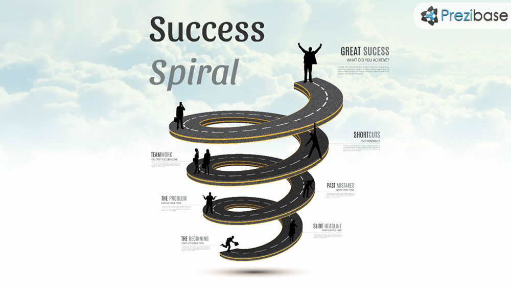 3D road spiral to sky prezi presentation template for business