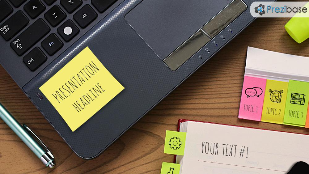 Office papers on desk notebook prezi presentation template