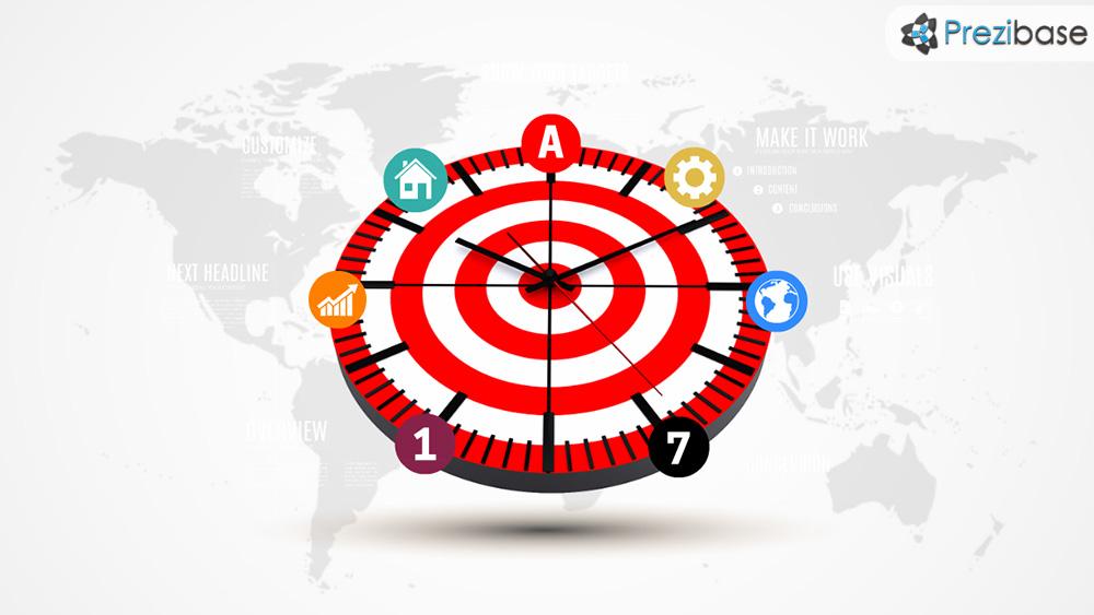 Target clock bullseye symbol prezi presentation template