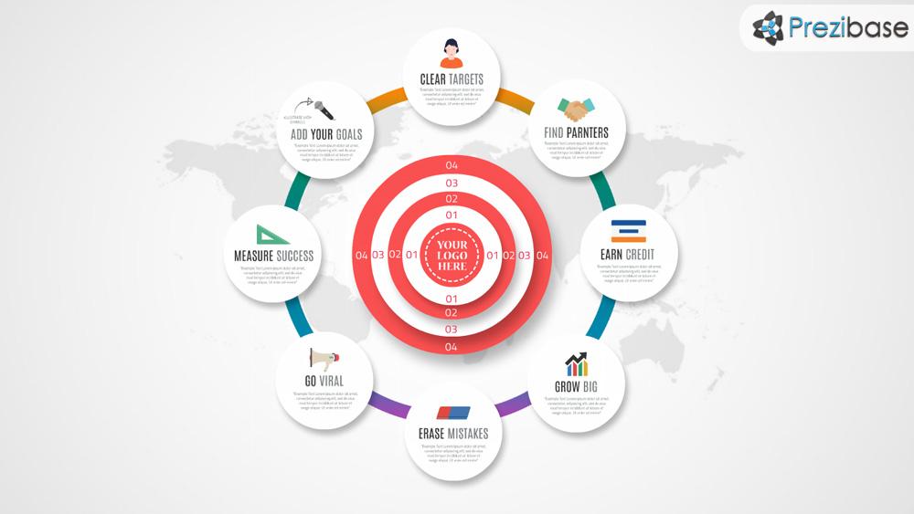 Clear targets bullseye infographic prezi template