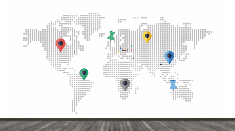 Dotted World map for business presentation prezi template