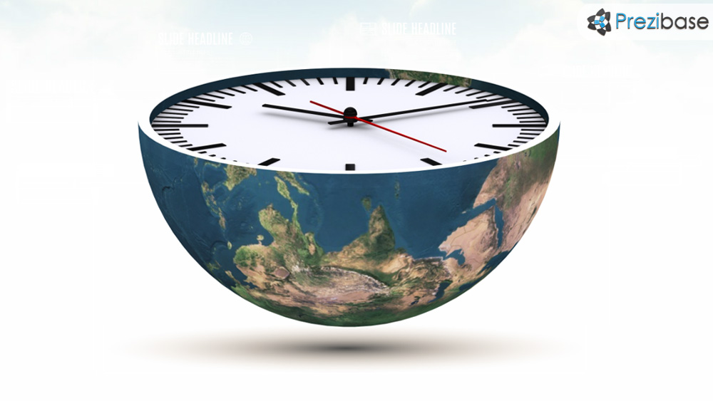 3D clock face on world prezi presentation template