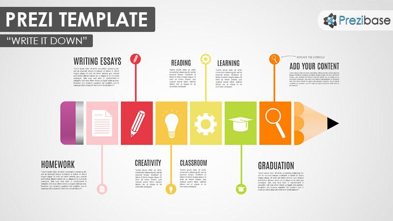pencil timeline colorful school education prezi template