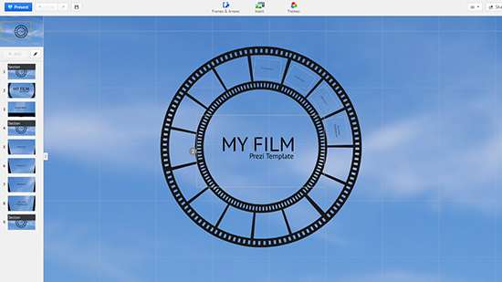 film strip tape prezi templates