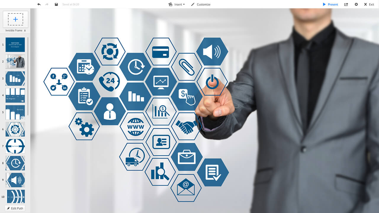 touchscreen-businessman-hexagon-AR-interface-prezi-presentation-template