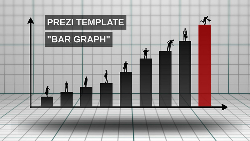 3d bar chart business silhouettes prezi template