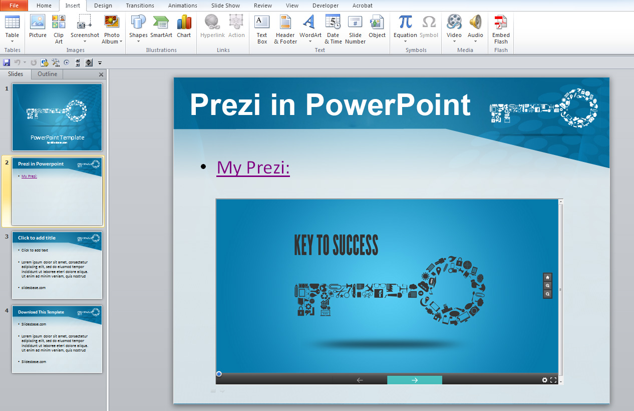 how to add embed prezi to powerpoint