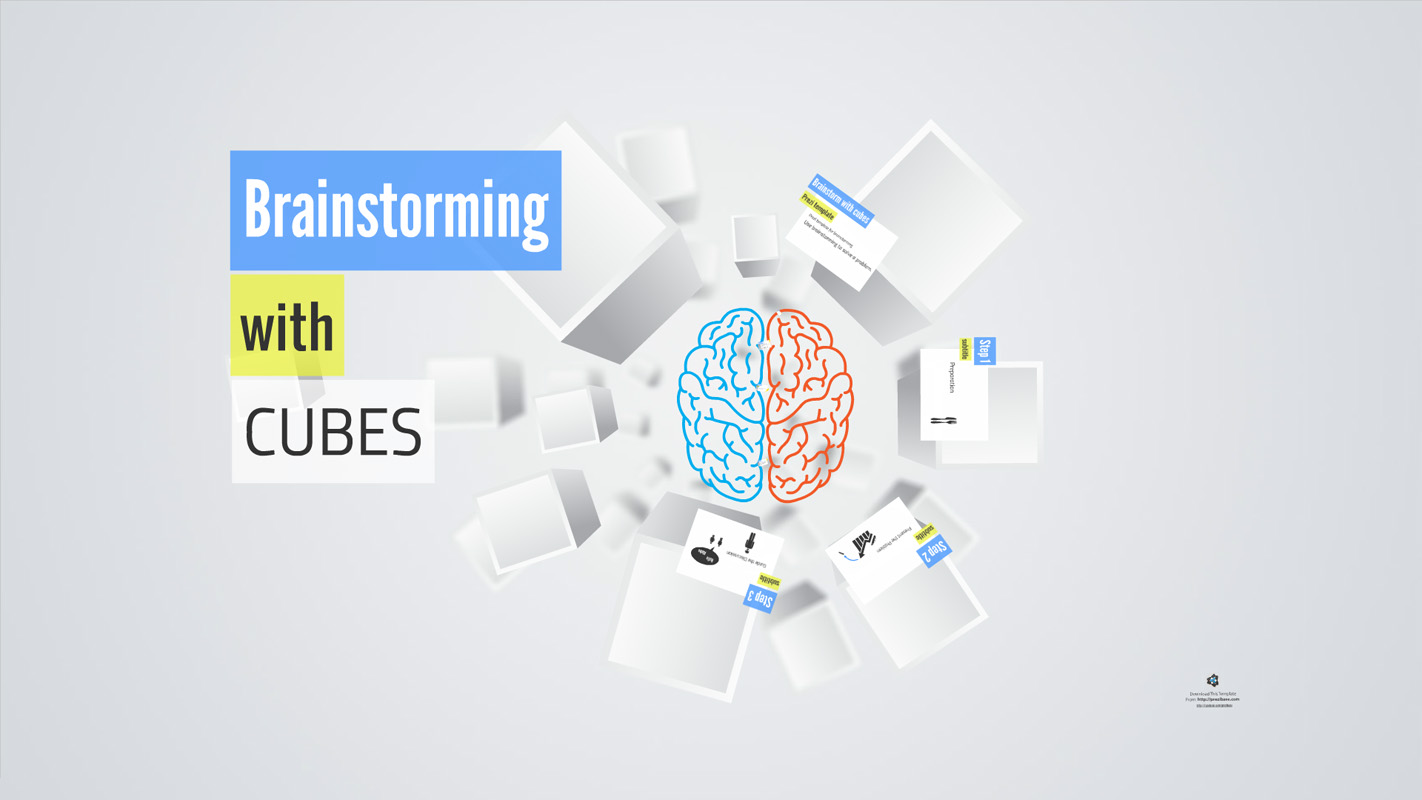 Brainstorming with cubes Prezi Template from Prezibase