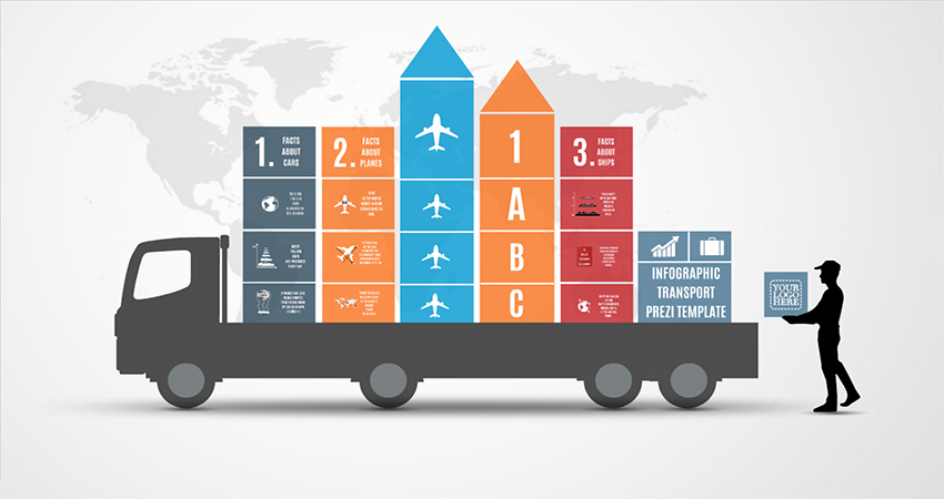 infographic transport prezi template prezibase. Black Bedroom Furniture Sets. Home Design Ideas
