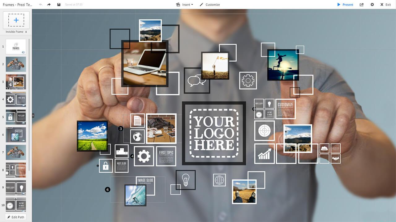 3d-multimedia-gallery-frames-touchscreen-future-interface-prezi-presentation-template
