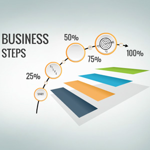 Business concept with multiple options, process from start to an end.
