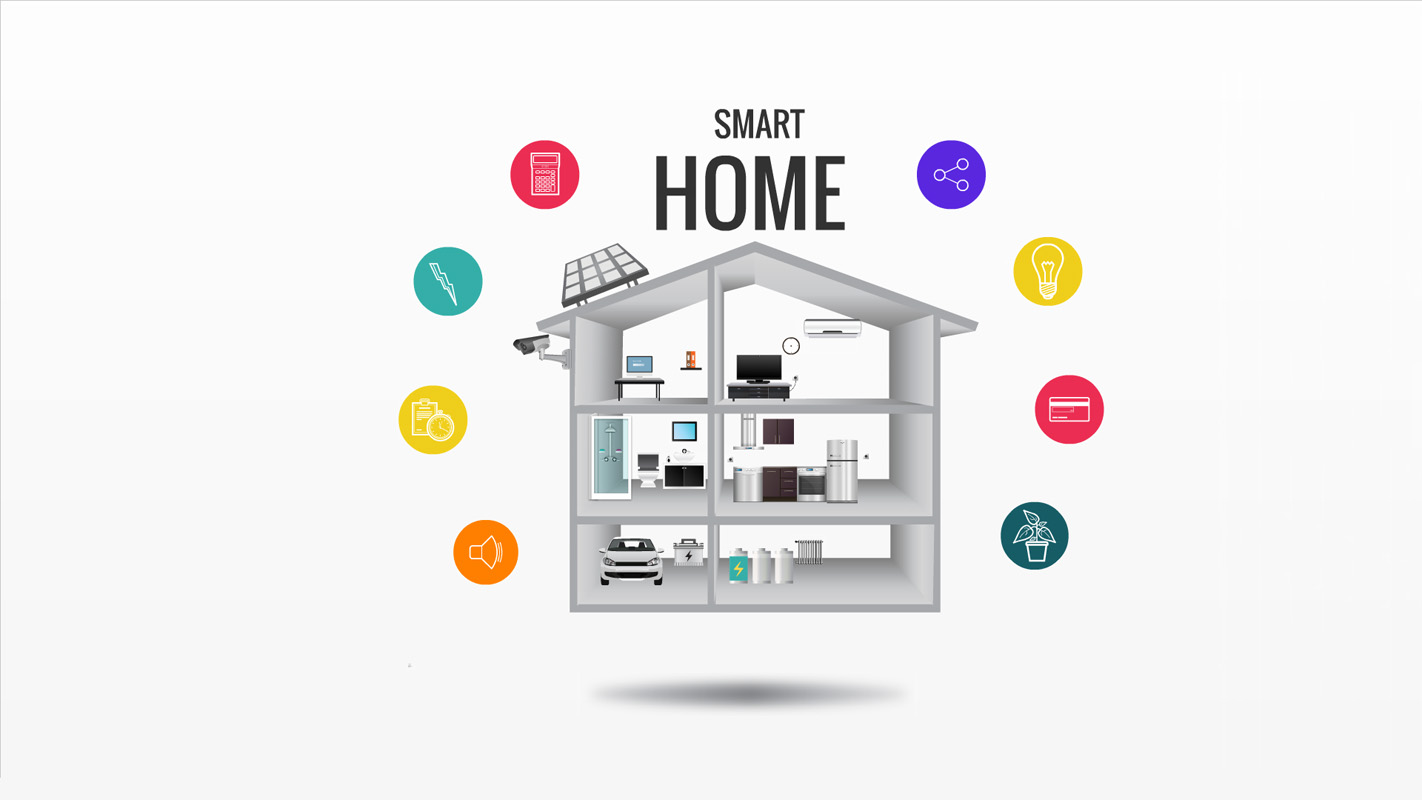 Smart Home on head flat