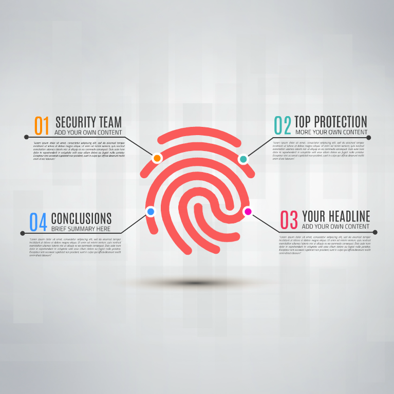 Prezi template has a digital security system concept with big red thumb fingerprint