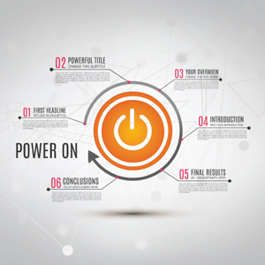 Prezi template presenting a process with power on switch and arrow