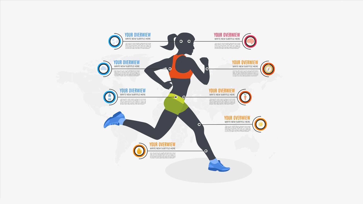 woman running sports infographic template