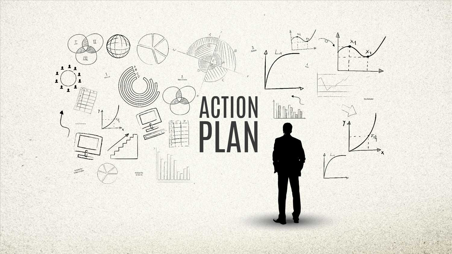 Prezi template - A businessman is looking at the business sketches on the wall for making an action plan