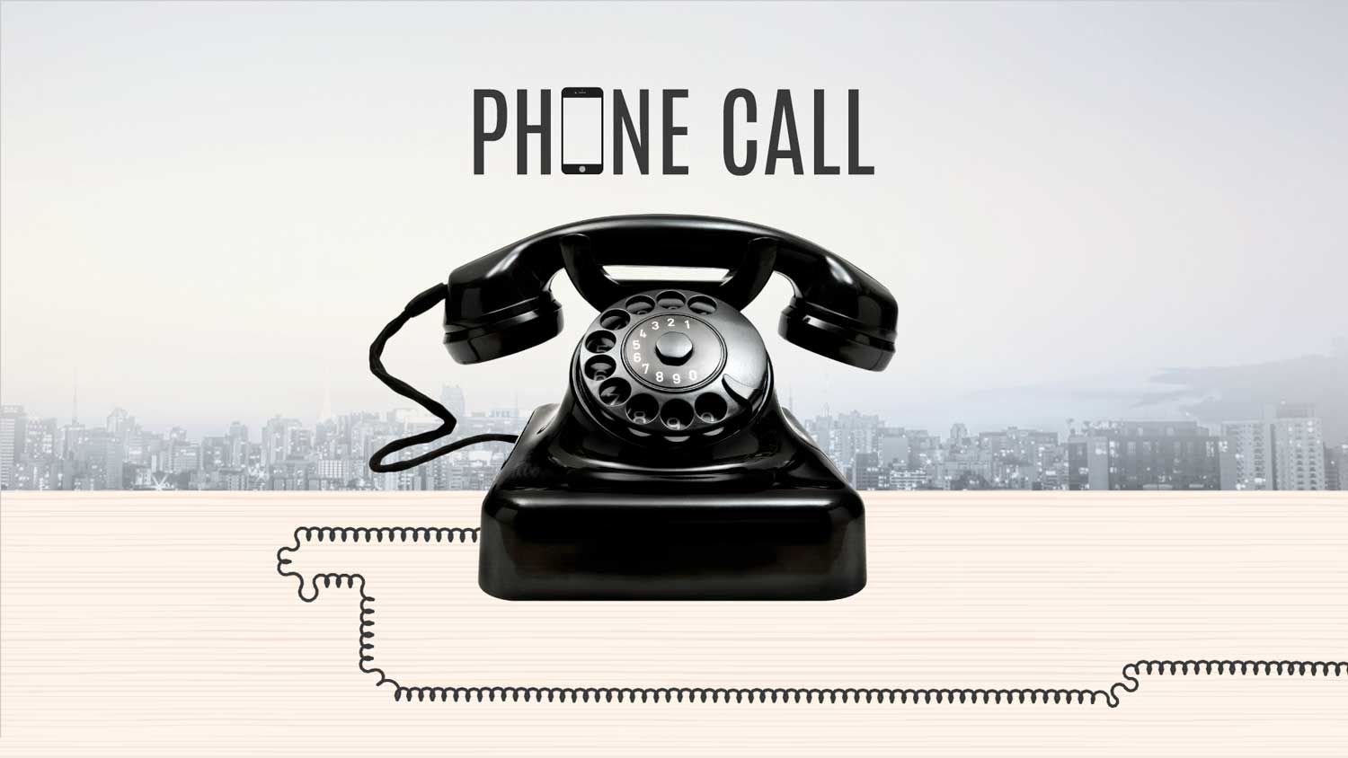 Prezi template - Old black Retro telephone on the light wood table for contact in front a background of an aerial view of the city skyline at early morning