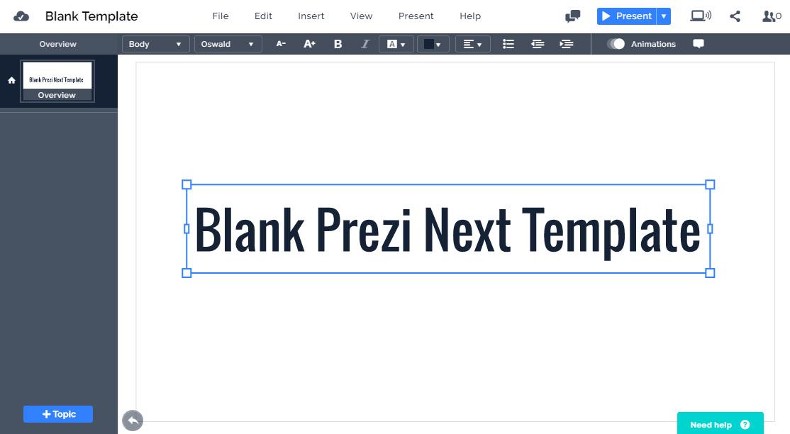 Blank Prezi Next Template Prezibase - Plain timeline template