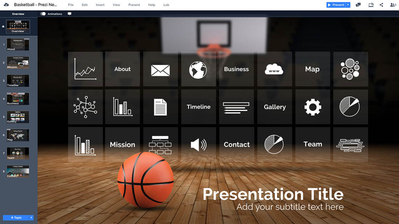 basketball court infographic template presentation