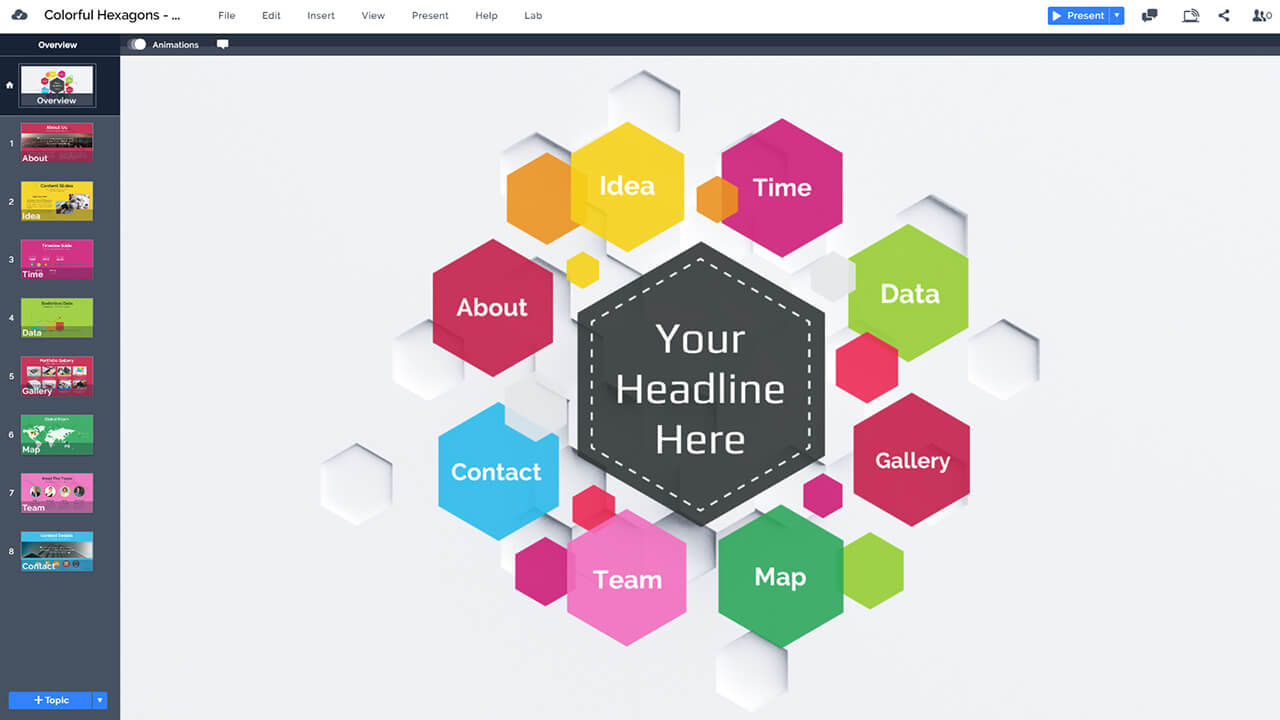 colorful hexagon presentation prezi template prezibase