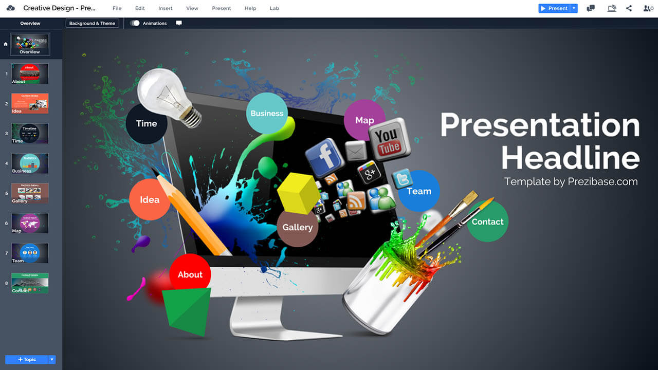 Creative web design presentation prezi template prezibase creative 3d web graphic design prezi presentation template maxwellsz